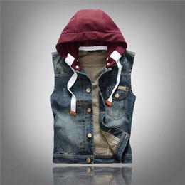 Wholesale Korean Mens Coats - Korean Slim Denim Vests Hoodies Mens Denim Jackets Sleeveless Outwear Coats Hip Hop Wistcoats Free Shipping 2018 M L XL XXL XXXL