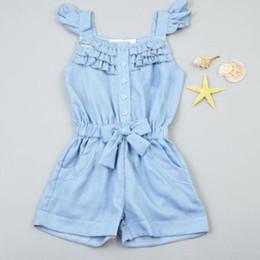 spitze netz gesicht Rabatt Kinder Mädchen Kleidung Strampler Denim Blue Cotton Washed Jeans Sleeveless Bogen Overall 0-5Y X16