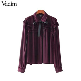 Wholesale Cute Chiffon Tops - Vadim women sweet ruffled chiffon shirts bow tie neck transparent pleated long sleeve cute blouse casual chic tops blusas LT2453