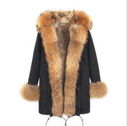 Wholesale Women S Fur Lined Parka - 2018 Jazzevar brown fur trim brown and white fox fur lining black long parkas women snow coats ladies jackets