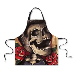 Wholesale Sleeveless Aprons - FORUDESIGNS Cool Skull Sleeveless Apron Unisex Aprons Colors Apron with Adjust Strap Chefs Home Kitchen Cookware Craft Baking