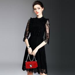 2019 vestidos estampados de flores Las mujeres del otoño elegante de la vendimia ahueca hacia fuera el cordón 3/4 mangas de moda casual fiesta de negocios una línea vestido Vestidos