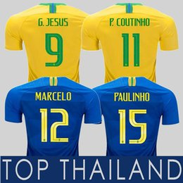 2018 Brazil Jersey Camisa de Futebol Jersey Camisa de Futebol COUTINHO  G.JESUS Paulinho DAVID LUIZ MARCELO FIRMINO FRED Camisa de Futebol Camiseta  de Futbol ... 4f3d43d614060