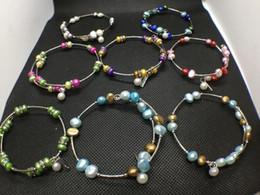 10 Colori Perle d'acqua dolce Perla Bracciale Moda naturale Gioielli di perle Braccialetto regolabile Charms Regalo delle donne Love Wish Gioielli di perle da