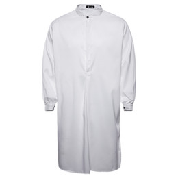 Lunghi abiti bianchi della camicia da estate online-2018 Estate Camicia da uomo nuovo di zecca stile arabo moda semplice camicia casual da uomo lungo bianco abito tunis musulmano Thobe M-XXL