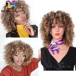 Color rubio Dos tonos Pelucas mullidas sintéticas para mujeres negras de longitud media 14 pulgadas trenzas pelucas de pelo pelucas de color bug rojo estilos africanos uk usa desde fabricantes