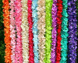 "Wholesale wholesale silk xmas flowers - 80""(200cm)New Arrival Elegant Artificial Hydangea Silk Flower Vine Home Wall Hanging Wisteria Garland For Wedding Xmas Decoration"