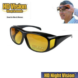 Wholesale Decorative Sunglasses - HD Night Vision Sunglasses Wraparounds Wrap Around Glasses The Day Night Visor For Your Car with Retail box