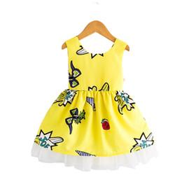 Wholesale Organza Print - Cartoon Graffiti Girls Dress Stereoscopic Butterfly Sleeveless Backless Organza Lace Princess Dress Vest Skirt Round-neck 3-8T