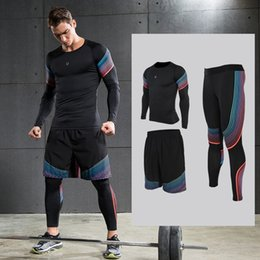 Wholesale blue ball game - Men's Running Sets Sportswear Compression Leggings Pants Shirts with Shorts for Running Joggers Gym Fitness Ball games