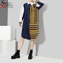 Wholesale Midi Dress Designs - 2018 Hit Color Design Women Blue Black Shirt Dress Long Sleeve Patchwork Striped Girls Cute Straight Midi Dress Robe Femme 3187