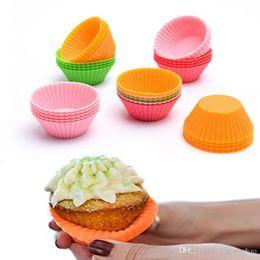 Molde de copo para o bolo on-line-Mais barato Forma Redonda Silicone Muffin Cup Bolo Caso Mold Bakeware Criador Mould Tray Baking Cup Forro Moldes Baking XL-369