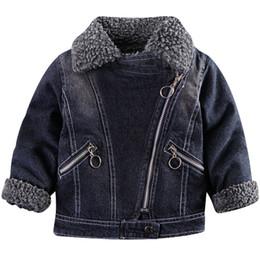 68537b9fba1a 2018 baby jungen jeansjacke Baby Jacke Herbst Kinder Jungen Mädchen Winter  Kleidung Baby Diagonal Reißverschluss Denim