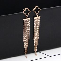 Wholesale colored earring studs - Tassel earrings new Japan and South Korea black clover box chain tassel rose gold earrings girls fashion titanium colored gold earrings