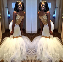 Wholesale Corset Tulle Skirt Prom Dresses - Sexy African Mermaid Prom Party Dresses 2018 White and Gold Evening dresses With Tulle Puffy Skirt Spaghetti Straps Lace Corset Gown