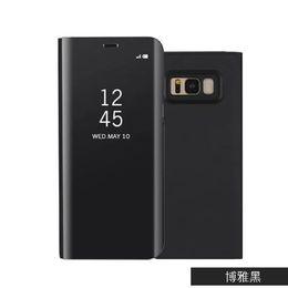 Argentina Espejo Clear View Flip Sleep Smart Case para Samsung Galaxy S9 S8 Plus Note 8 S7 con borde de cuero transparente cubierta de plástico cubierta de moda Suministro