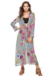 Offenes kragenkleidhemd online-Frühling Umlegekragen Streifen Blumendruck Langarm Hemd Kleid Mode Knopf Frauen Maxi Kleid Strand Robe Open Stitch