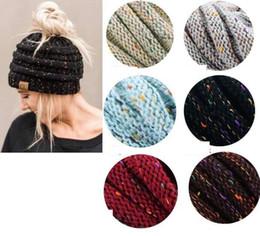 Wholesale Ponytail Fashion - Women cc cap Fashion CC ponytail knit hat fashion girl women winter warm hat Winter Knitted Warm Holey Hats Beanie KKA3775
