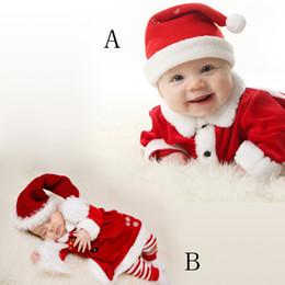 Costumes de père noël pour les garçons en Ligne-Hiver Noël bébé garçons et filles Santa Claus Costume Velours Tops Pantalon Hat Outfit Vêtements 3PCS Set