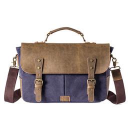 Wholesale Military Laptop Messenger Bag - Male Vintage Canvas Briefcase Leather Handbag Tote England Style Men Messenger Bags Shoulder Laptop Bag Military Leisure bag