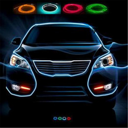 Wholesale Neon Lights Decorating - 3 Meters AUTO interior refit light clamping-edge EL Wire Flexible Neon Car Decorate With 12v Cigarette lighter Drive Free shipping