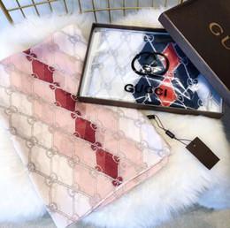 2019 sciarpe di seta arcobaleno 2018 moda 100% seta sciarpa Designer di lusso delle donne griglia griglia marche sciarpa elegante donne avvolgere sciarpe lunghe 180x90 cm D0015 sciarpe di seta arcobaleno economici