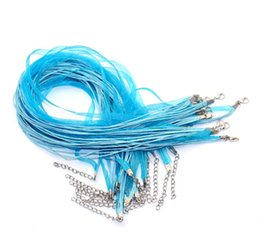Colares de fita adesiva on-line-100 pçs / lote quente! TURQUESA AZUL Fita Voile Colar Cord DIY artesanato jóias 460mm