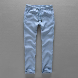 Wholesale Flax Pants Xl - Netherlands brand 100% linen pants men long loose trousers men fashion casual pants mens solid flax trousers mens pantalon 40