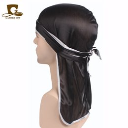 Wholesale red skulls - Unisex Men Women Satin Breathable Bandana Hat Silky Durag do doo du rag long tail headwrap