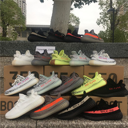 Wholesale Freeze Blue - Sply 350 Boost V2 Semi Frozen Yellow Blue Tint Zebra Cream White Beluga 2.0 Bred Boost 350 Kanye West Running Shoes Sneakers