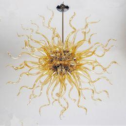 24 zoll rundes glas Rabatt Goldfarbe Moderne Kristallbeleuchtung LED Mundgeblasenem Glas Runden Kronleuchter für Hochzeit 28 Zoll Glas Anhänger Beleuchtung