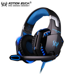 Wholesale mic for computers - Gaming Headphone casque Kotion EACH G2000 Best Computer Stereo Deep Bass Game Earphone Headset with Mic LED Light for PC Gamer New