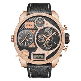 Oulm composer une montre en Ligne-Oulm Hommes Montres Super Big Dial 57 CM Grande Double Montre-Bracelet À Quartz Mâle Casual Montre En Cuir Deux Fuseau Horaire Montre Homme
