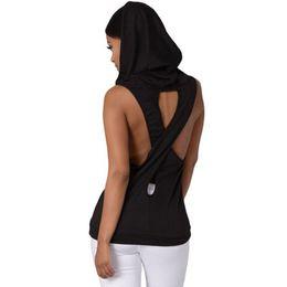 Wholesale white vest tops for women - Fashion Women Tank Tops Hooded Back Gray Cross Hollow Street wear Gym Fitness Sport Sleeveless Vest for Running Training S-XL