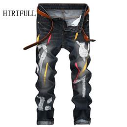 Wholesale Offset Size - 2018 Men Jeans Design Fashion Biker Runway Hiphop Slim Jeans Hole Offset Printing Distressed Men Ripped 28-42 Size