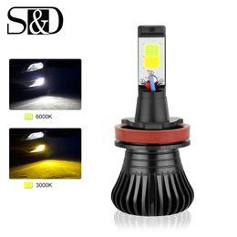 желтый h11 противотуманные фары Скидка S&D Car Lights H11 LED Dual Color Fog Lights DRL Daytime Running Lamp Drving Bulbs 3000k 6000k Auto Lamp 12V 24V White Yellow