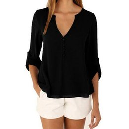 Wholesale V Neck Sleeveless Button Blouse - Wholesale- 2017 New Summer Sexy V Neck Long Sleeve Body Shirts Women Blouses Casual Chiffon Blouse Ladies Tops 5XL Plus Size Women Clothing