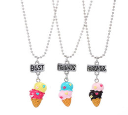 Wholesale Nickel Pendant Charms - New Arrive Multicolor Ice-cream Pendant Necklace Best Friends BFF Bead Chain Necklace KIDS jewelry lead nickel free 3set 9pcs