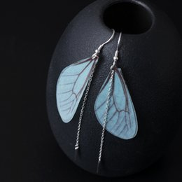 Wholesale Fringe Charm - New arrival 925 Sterling Silver Earring fashion Medium and long term Insect wing fringe Earring studs charm wholesale woman jewelry china