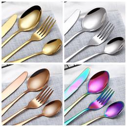 4 Piece Set Flatware Set 4 Colors Stainless Steel Dinner Set Western Knife Fork Teaspoon Dinner Spoon Tableware Dinnerware Cutlery Sets
