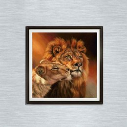 30 * 30 cm Lion in Love 100% Completo 5D Diamante Kit de Pintura Decoración Del Hog Decoración para el Hogar Arte de la Pared Arte de Diamantes Suministros desde fabricantes