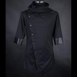 Wholesale Japanese Slimming Shirt - Men personality asymmetric design black shirts nightclub stage costume mens japanese harajuku blusas slim fit clothes streetwear