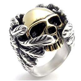 Wholesale Golden Motor - 2017 New Cool Style Golden Silver Skull Ring With Wings 316L Stainless Steel Mens Fashion Motor Biker Skull ring