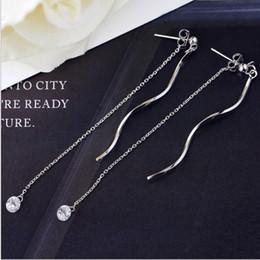 Wholesale Brass Wave - Silver-plated brass jewelry wave tassels hanging earrings female long ear sweet temperament ear studs