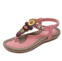 Wholesale Beaded Flip Flop Slippers - Size 36-42 2018 Bohemian Women Sandals Gemstone Beaded Slippers Summer Beach Sandals Women Flip Flops Ladies Flat Sandals Shoes