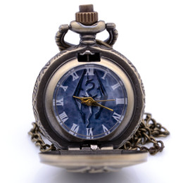 Discount boy bronze - Small Size Steampunk The Elder Scrolls V Skyrim Mens Boys Quartz Pocket Watch Pendant Necklace Chain Kids Toys relogio de bolso