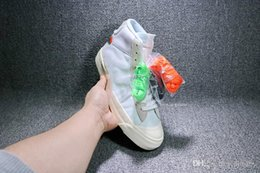 Wholesale N Boxes - N Shoes THE 10 Blazer Studio Mid X Off AA3832-100 OW Asil White-muslin Voile Mousseline Blanc Sneakers Men High Boots