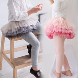6a38b4cc30715 Cute Kid girl leggings Tutu Pantskirt Gradient layers Tulle tights Little  girl pant 2018 Fall winter wholesale 2-7years