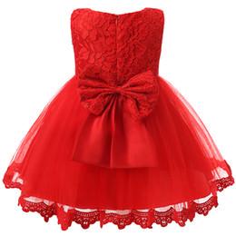 2019 robes de baptême européenne bébé fille Bébé Fille Vêtements Infantile Robe De Fête Pour 1 Année Fille Bébé Anniversaire Robe Nouveau-Né Fille Enfant Robe De Baptême Rouge Robe De Baptême