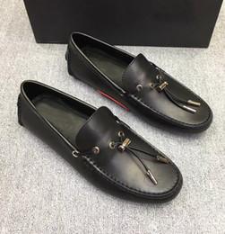 zapatos azules de coche Rebajas Los zapatos de los guisantes de los hombres zapatos de cuero azules negros del coche liberan el tamaño 38-45 del envío